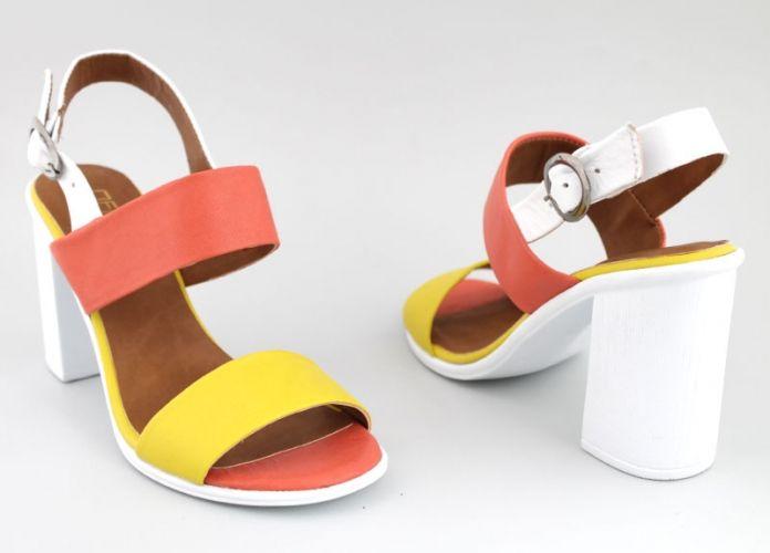 Дамски сандали на ток в корал и  жълто M-3011KJ