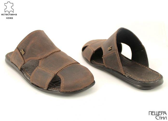 Мъжки чехли от естествена кожа в кафяво Y 3001 K
