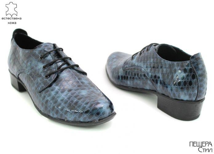 Дамски обувки от естествен лак на фигурки в синьо D-105 SN
