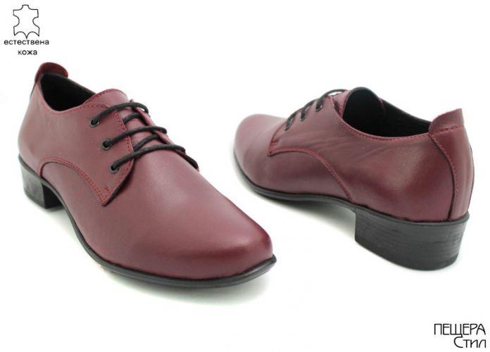 Дамски обувки от естествена кожа в бордо D-105 BRk
