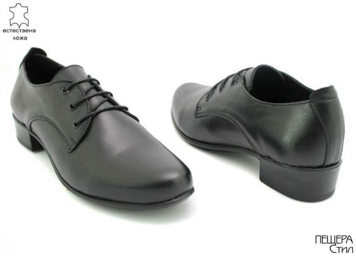 Дамски обувки от естествена кожа в черно D-105 CHk