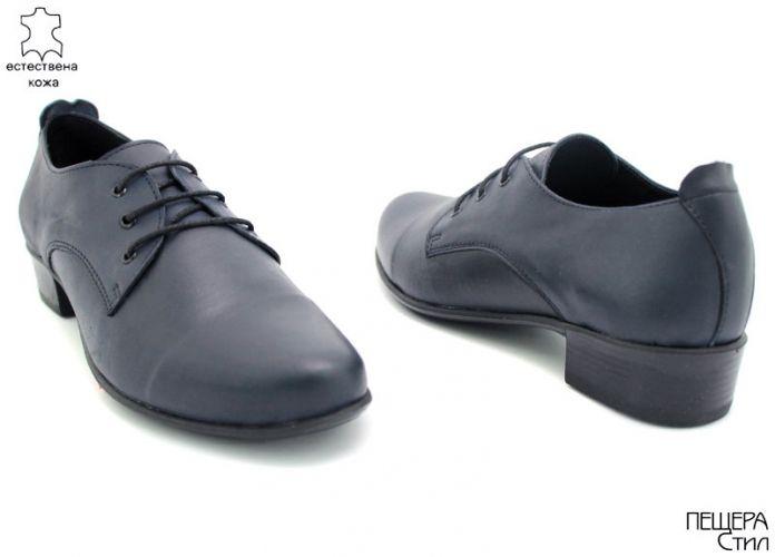 Дамски обувки от естествена кожа в тъмно синьо D-105 SNk