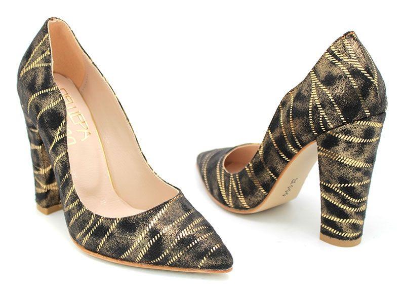 6e320bdb161 Дамски официални обувки на висок ток в черно и златисто K-103 CH