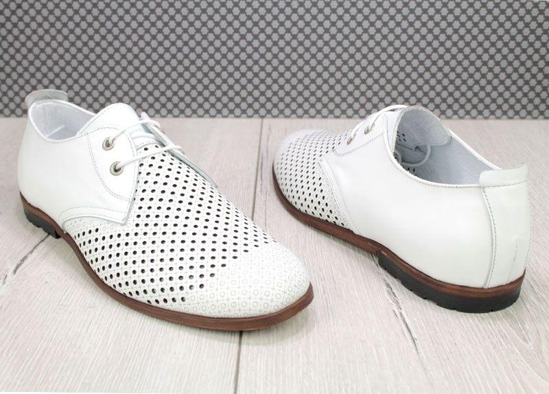 04ea11b1a02 Мъжки летни обувки от естествена кожа с перфорация в бяло D-326 B