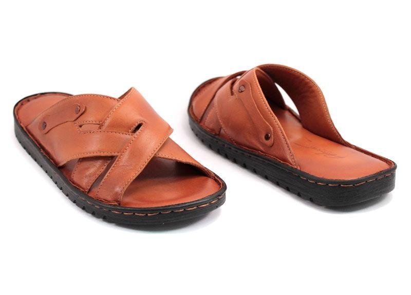 187268c55aa Мъжки чехли от естествена кожа в светло кафяво 125 SK
