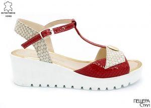 Дамски сандали в бежово и бордо 604 BB
