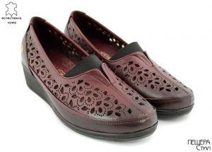 Дамски летни обувки с перфорация в бордо 228 BR