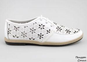 Дамски летни обувки с перфорация в бяло D-110 B
