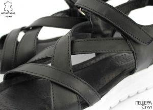 Дамски сандали с кръстосани каишки в черно  ME-35A CH