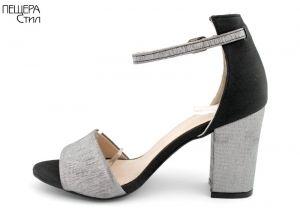 Дамски сандали на ток в сребрист и черен сатен FV 144 SR