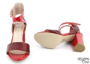 Дамски сандали на ток в червен лак и змийско бордо FV 936 CV
