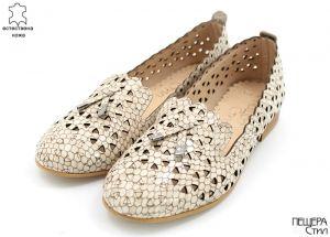 Дамски летни обувки на нисък ток в бежов лак 6767 BJL