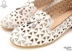 Дамски летни обувки на нисък ток от бяла кожа 6767 B