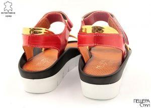 Дамски червени сандали със златни кантове 612 CV