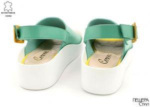 Дамски сандали в петролено зелено 16129 ZL