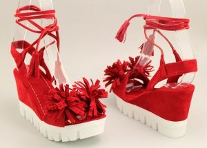 Дамски червени сандали с връзки K-23 CV