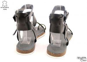 Дамски сандали от естествена кожа в черно D-756 CH