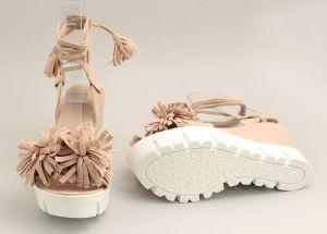 Дамски бежови сандали с връзки K-23 BJ