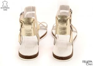 Дамски сандали от естествена кожа в злато D-756 ZL