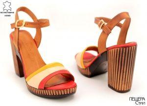 Дамски сандали в светло кафяво 7715 CBJ