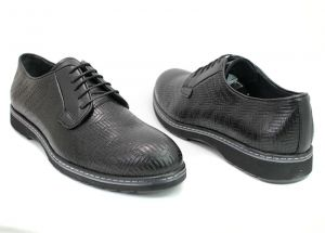 Men's casual derby shoes in black leather - 1566-05CH