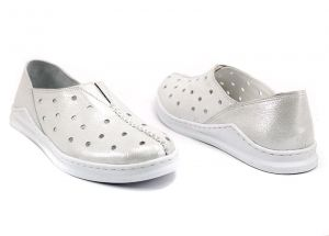Slip-On Women's Daily Wear Shoes in white leather - M-310 B