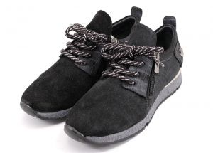 Laced Women's Daily Wear Sport Shoes in black suede - 417 CH