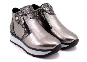 Low platform women's sneakers in silver leather - B-157 PL