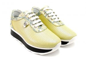 Laced Women's Daily Wear Sneakers in yellow perf leather - 1793 JT