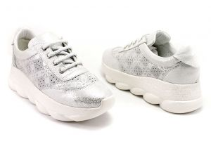 Laced Women's Daily Wear Shoes in Silver Perf Leather - 244 SR