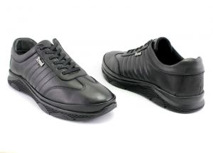 Men's casual sport style shoes in black leather - 1312 CH