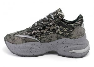 Women's Laced Platform Sneakers in Exotic Green and Gray Leather - 222.1 SZ