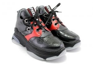 Women's Winter Laced Plarform Sneakers in black and red leather - 1205 CH