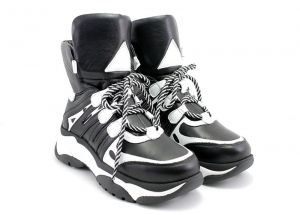 Women's High Platform Sneakers Boots in Black and White Leather - Model 6000 CH