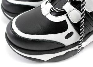Women's High Platform Sneakers Boots in Black and White Leather - Model 6002