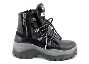 Women's High Platform Sneakers Boots in black leather - Model OFF-White