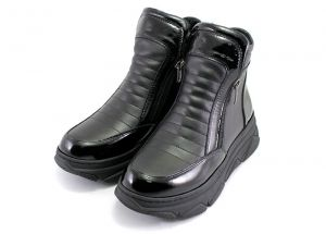 Woman's high platform sneakers boots in black leather - 567 CH