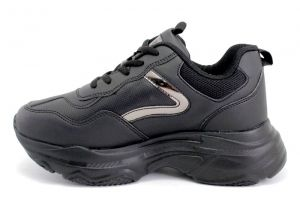 Women's laced runnign sport shoes in black - 053CH