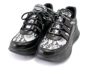 Womens sneakers made of satin perf leather in combination with snake print. Lining leather. Insole leather. Model Naomi.