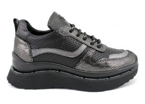Womens sneakers made of satin perf leather in combination with snake print.