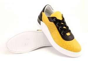 Women's sport style casual summer shoes, sport sole with fine perforation, made in combination of mustard and black. Lining leather. Insole leather. Model Gerry