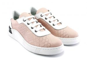 Women's sport style casual summer shoes on a sewed, sporty sole with fine perforation, made in combination of ping powder and white. Model Gerry.