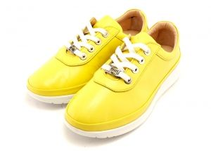 Women's daily wear spring casual shoes in yellow leather with white sole. Model Alice